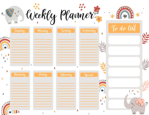 Weekly planner page template, to do list with cute elephant in cartoon style