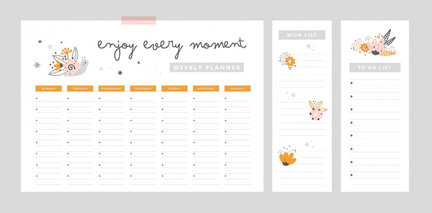 Weekly planner page, wish list template, to do list. flat lay, organizer mock up