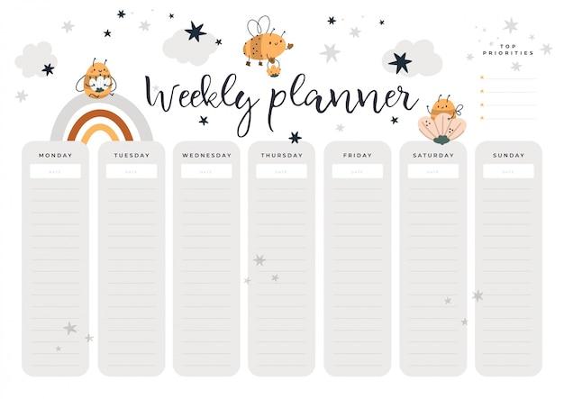 漫画のスタイルでミツバチの赤ちゃんと毎週プランナーページ。学生、子供、文房具のデジタルプリント