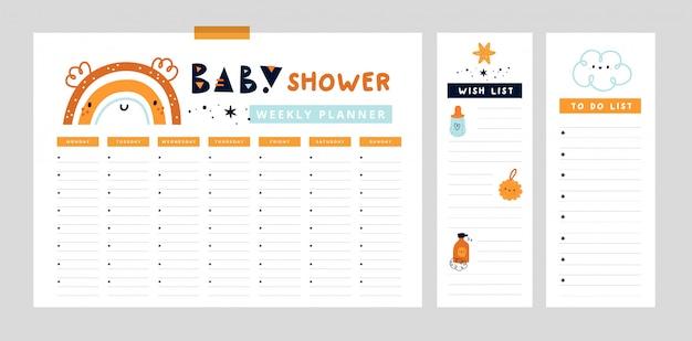 귀여운 무지개와 주간 플래너 페이지. 엄마와 아기를위한 주최자. 베이비 샤워