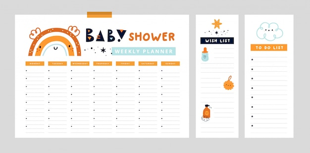 Weekly planner page with cute rainbow. organizer for mom and baby. baby shower