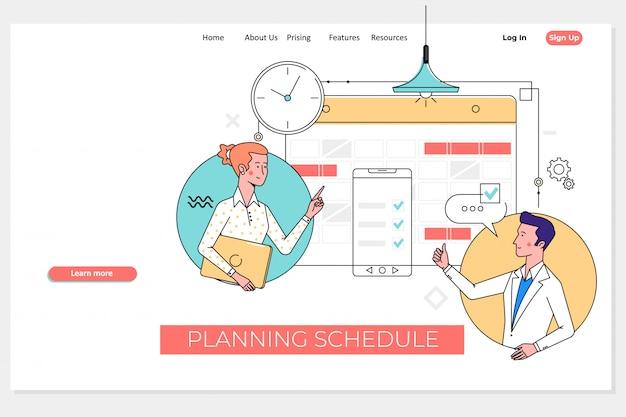 Weekly planner schedule memo timeline landing page