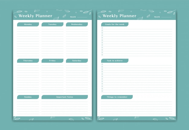Weekly planner schedule monday to sunday set with weekly goals and notes in soft green leaf flower decoration