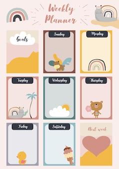 Еженедельный планировщик начинается в воскресенье с животных и солнца, чтобы сделать список, который можно использовать для вертикальных цифровых и печатных форматов a4 a5