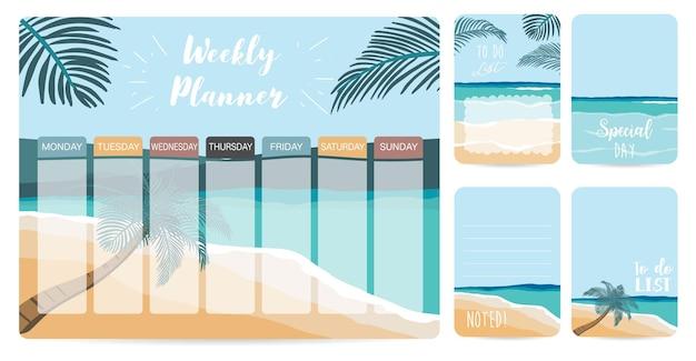 Еженедельный планировщик начинается в воскресенье со списка дел на пляже
