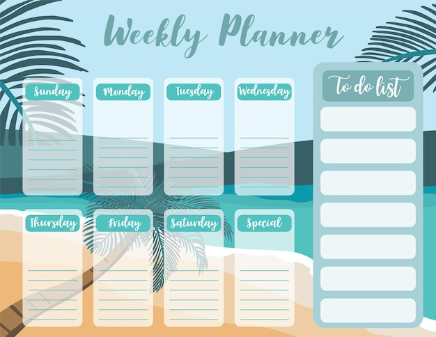 Weekly planner start on sunday with beachseato do list
