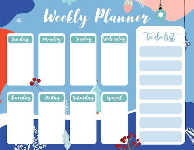 Weekly planner start on sunday with winter and flower,to do list that use for vertical digital and printable a4 a5 size