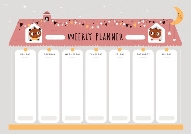 Weekly planner, stationery organizer for daily plans in cartoon style