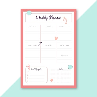 Weekly planner stationery template