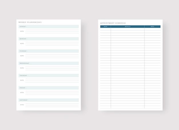 Шаблон еженедельного планировщика набор планировщика и список дел