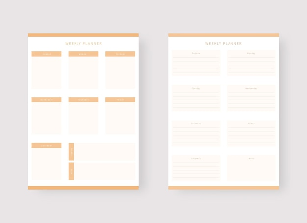 Weekly planner template set of planner and to do list modern planner template set