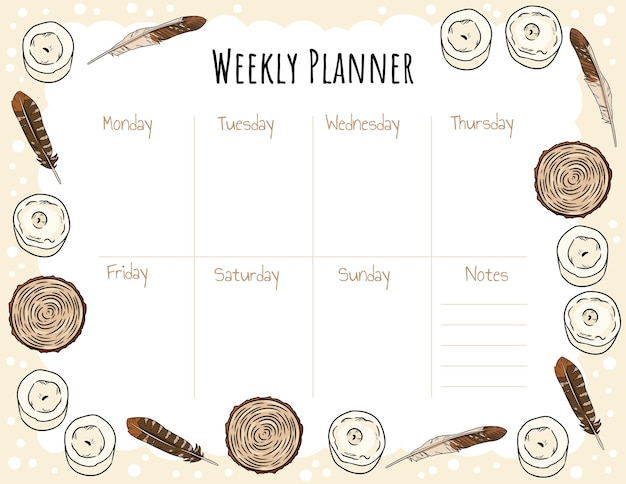 Weekly planner template with candles feathers and wood cut