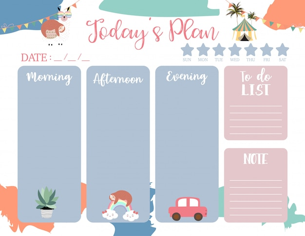 Weekly planner template with cute animals