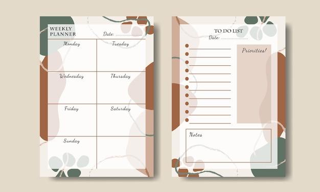 Еженедельный планировщик, список дел с абстрактной формой для печати premium векторы
