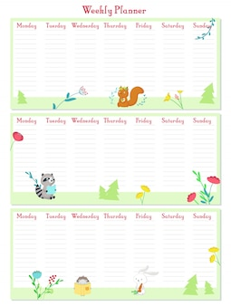 Weekly planner vector template with cute animals