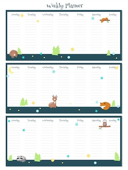 Weekly planner vector template with sleeping animals