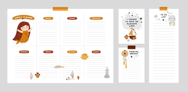 Weekly planner and wish list design with cute mermaid cartoon template