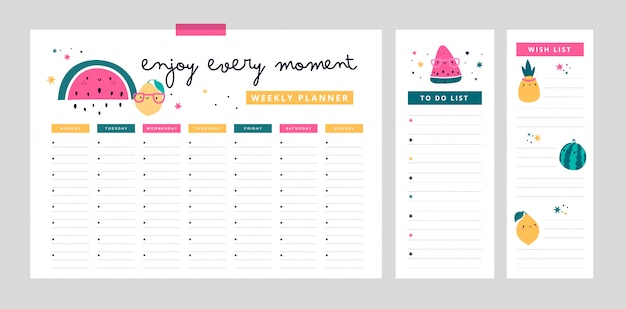 Weekly planner, wish list, to do list in cartoon flat style with cute fruits and motivation phrase