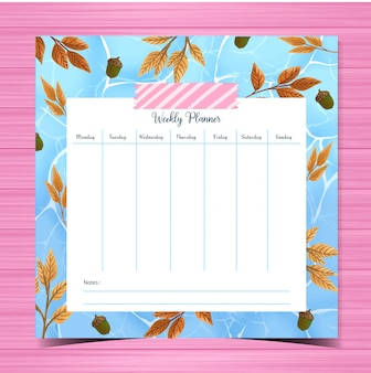 Weekly planner with autumn background