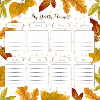 Weekly planner with autumn theme
