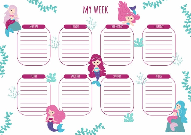 Weekly planner with beautiful little mermaids and elements of the underwater world. children's schedule design template. vector illustration, cartoon style