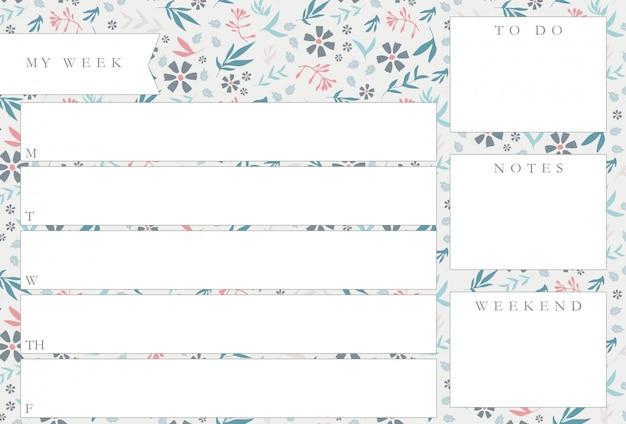 Еженедельный планировщик с синими цветами