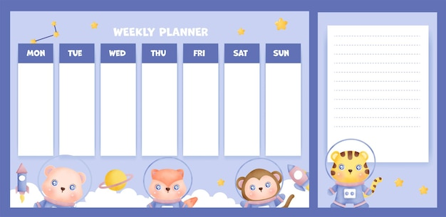 Weekly planner with cute animals in the galaxy.
