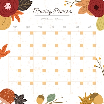 Weekly planner with cute autumn floral background