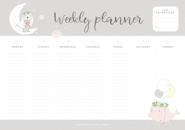 Weekly planner with cute baby animals