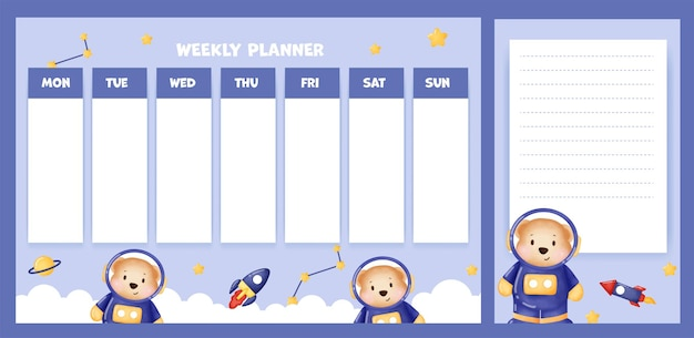 Weekly planner with cute bear in the galaxi.