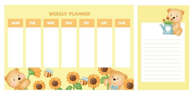 Weekly planner with cute bear in sunflower field.