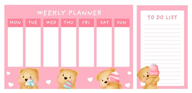 Weekly planner with cute bear.