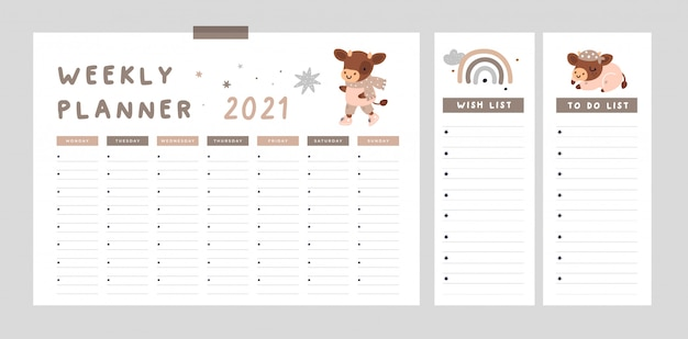 Weekly planner with cute bull, rainbow, symbol of 2021 year