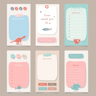 Weekly planner with cute illustration animal theme graphic for journaling, sticker, and scrapbook.