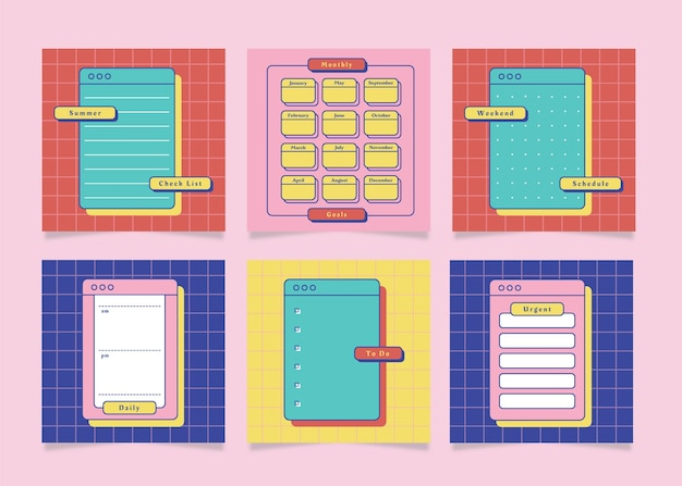 Weekly planner with cute illustration retro summer theme graphic
