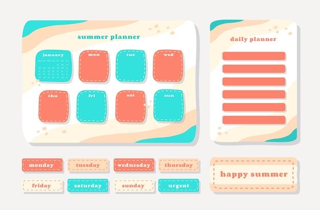 저널링, 스티커 및 스크랩북을위한 귀여운 일러스트 여름 테마 그래픽이있는 주간 플래너.