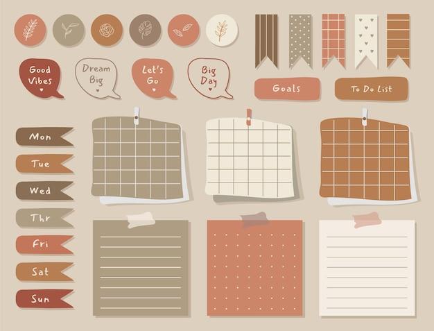 ジャーナリング、ステッカー、スクラップブック用のかわいいイラストテラコッタテーマグラフィックを備えたウィークリープランナー。