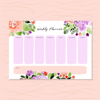 Weekly planner with floral watercolor background