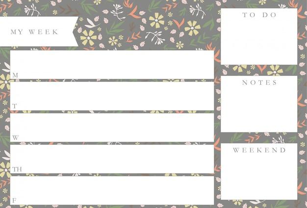 Еженедельный планировщик с цветами