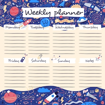 Weekly planner with funny outer space and funny cartoon cosmos icons in doodle cartoon style. kids schedule design template.  illustration.
