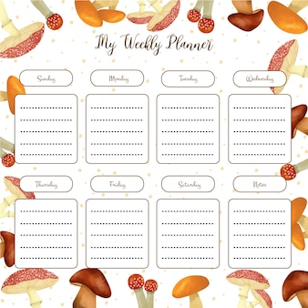 Weekly planner with gorgeous mushroom elements