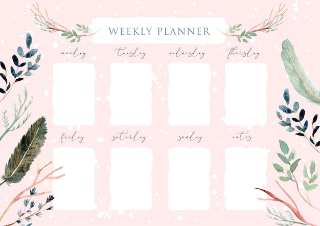 Weekly planner with green feather and leaves frame