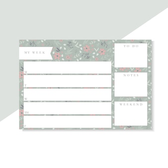 Weekly planner with green and pink flowers