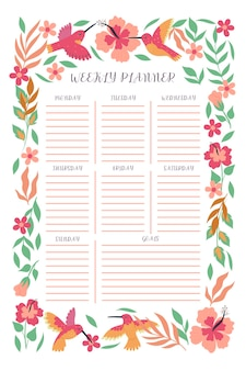 Weekly planner with hummingbirds and flowers. vector graphics.