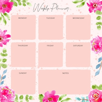 Weekly planner with pink floral watercolor frame