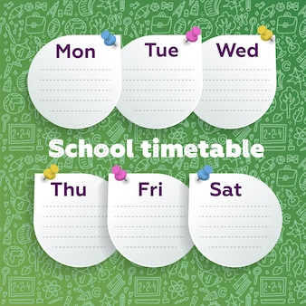 Weekly planner with smart design. round sheets pushpined on green chalkboard with school supplies doodle line art.