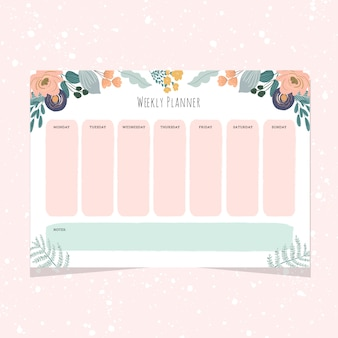 Weekly planner with sweet floral frame