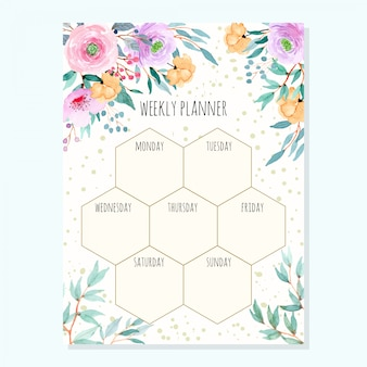 Weekly planner with watercolor floral green leaves