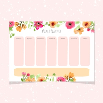 Weekly planner with watercolor flower frame