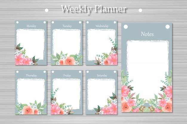 Набор weekly planner с красивыми цветами и абстрактного фона дерева